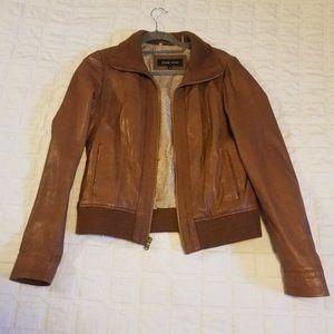 Women's Black Rivet Genuine Leather Jacket